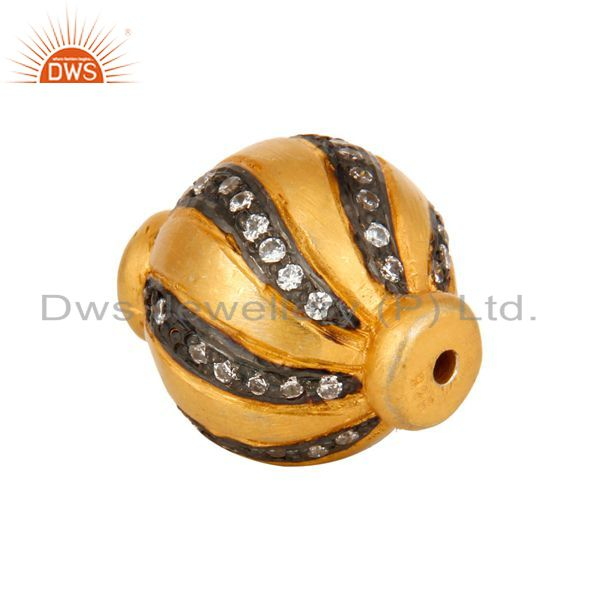 Suppliers Findings 925 Sterling Silver 24K Yellow Gold Plated With CZ Round Beads Charms