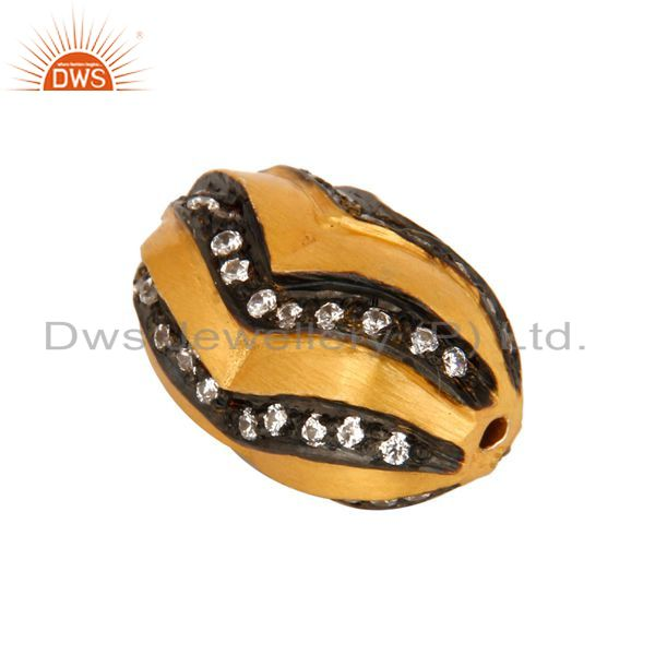 Suppliers Genuine 925 Sterling Silver White Zircon 24K Yellow Gold Plated Bead Jewelry