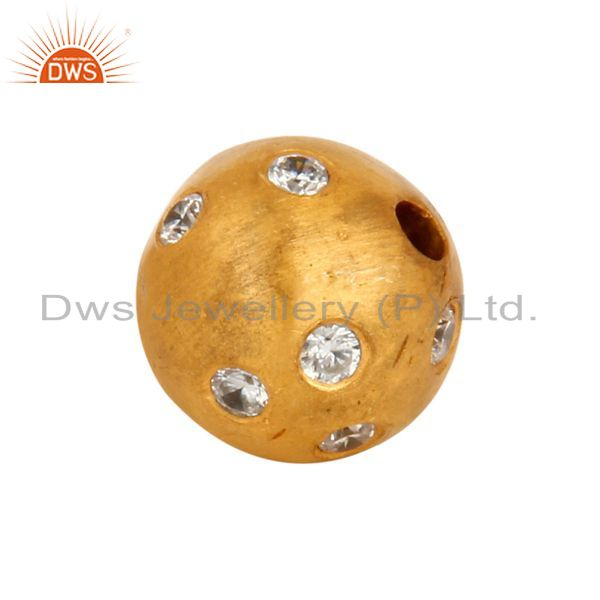 Suppliers 925 Sterling Silver Cubic Zirconia Round Bead Charm With 24k Gold Plated Jewelry