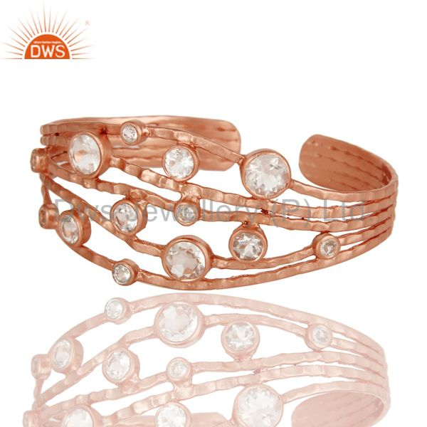 Suppliers Rose Gold Plated Sterling Silver Wire Design Ring with Crystal Quartz & Topaz