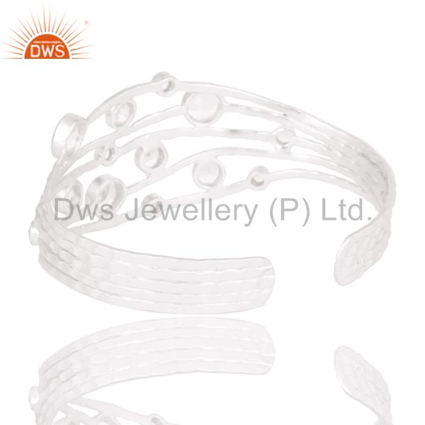 Suppliers Fine Solid Sterling Silver Wire Design Ring with Crystal Quartz & White Topaz