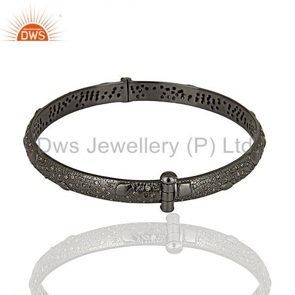 Wholesalers of Black rhodium plated pave diamond band bangle jewelry manufacturer