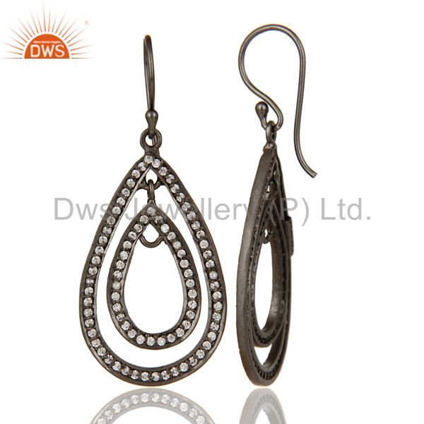 Suppliers Oxidized Sterling Silver White Zirconia Vintage Fashion Dangle Earrings