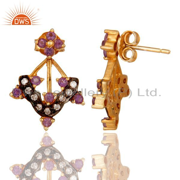 Suppliers Gold Plated Sterling Silver Citrine Amethyst Garnet Gemstone Earring With Zircon