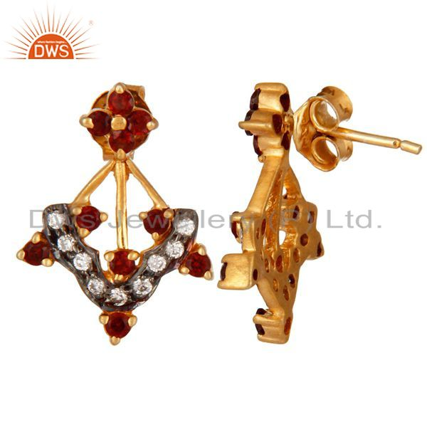 Suppliers 18K Gold Plated 925 Sterling Silver Garnet Gemstone & White Zircon Stud Earring