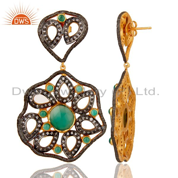 Suppliers Designer 925 Sterling Silver Handmade Green Onyx Earring With Zircon