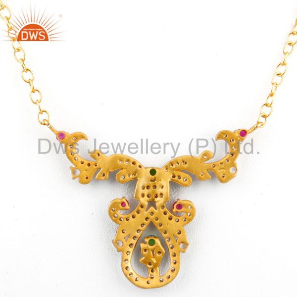 Suppliers Black Rhodium Plated Multi Colored Cubic Zirconia Womens Antique Look Necklace