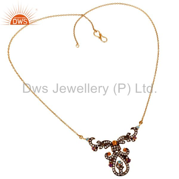 Suppliers Amethyst, Blue Topaz, Citrine & Zircon 18K Gold Plated Sterling Silver Necklace