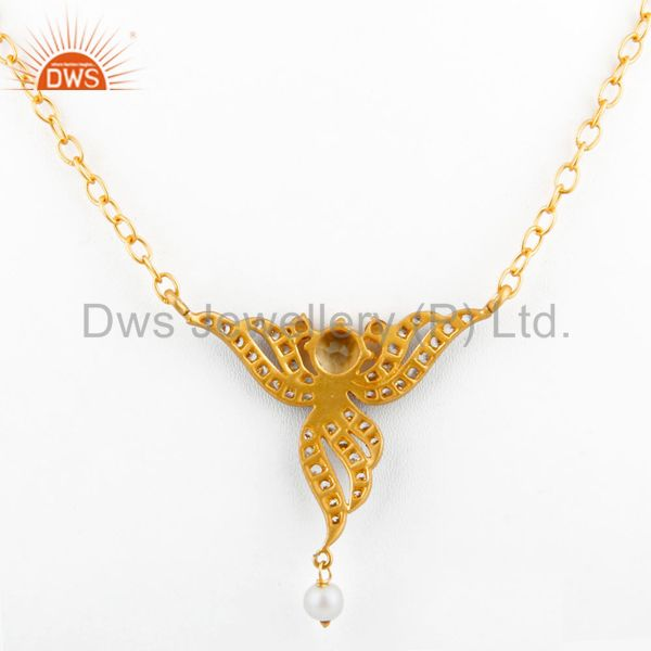 Suppliers Lady Fashion Zircon Jewelry 5mm Yellow Citrine 18k Gold GP Pendant Necklace Gift