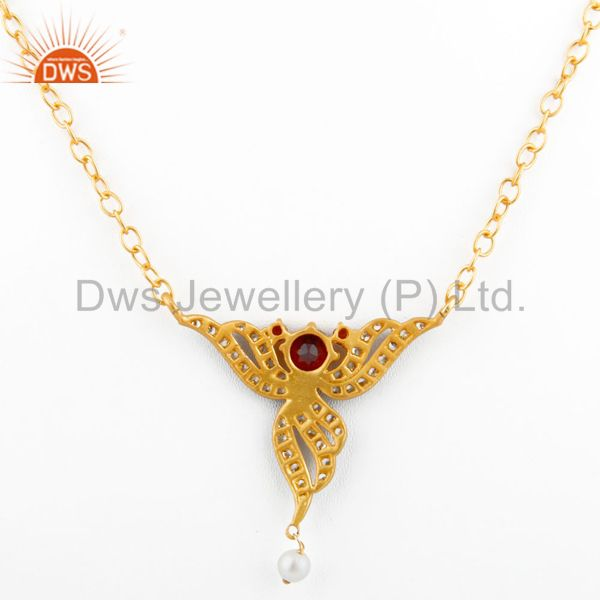 Suppliers Pearl Fashion Jewelry Gift Red Garnet 24k Yellow Gold Gp Pendant Necklace Chain