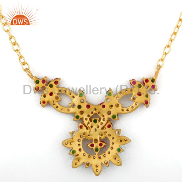Suppliers 18K Yellow Gold Plated Multi-colored Cubic Zirconia Necklace Fashion Jewelry