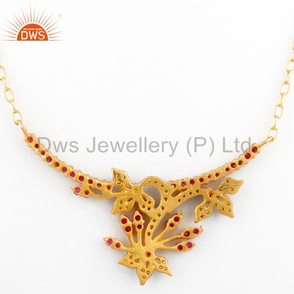Suppliers 18K Yellow Gold Plated Multi-colored Cubic Zirconia Antique Style Necklace