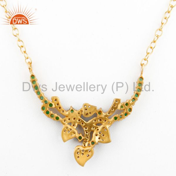 Suppliers Emerald Green Cubic Zirconia 18K Yellow Gold Plated Ladies Fashion Necklace