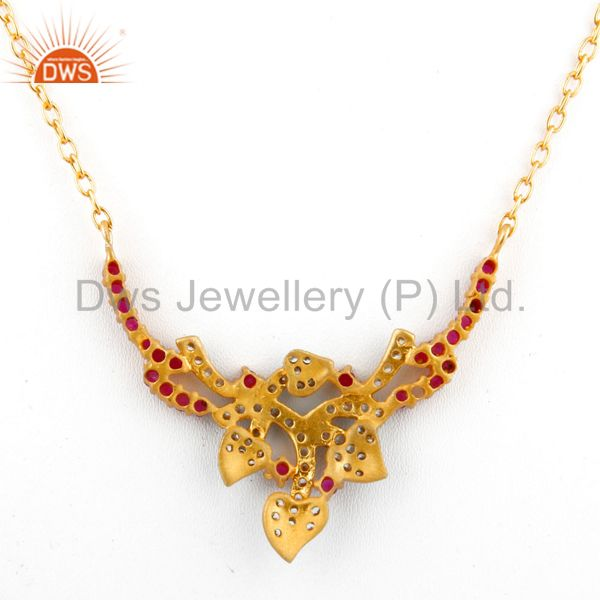 Suppliers White And Red Cubic Zirconia 18K Yellow Gold Plated Sterling Silver Necklace