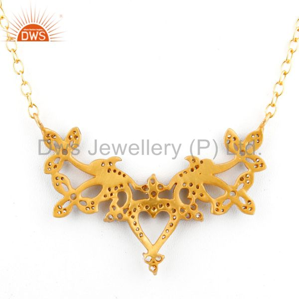 Suppliers 18K Yellow Gold Plated Brass Cubic Zirconia Designer Fashion Necklace