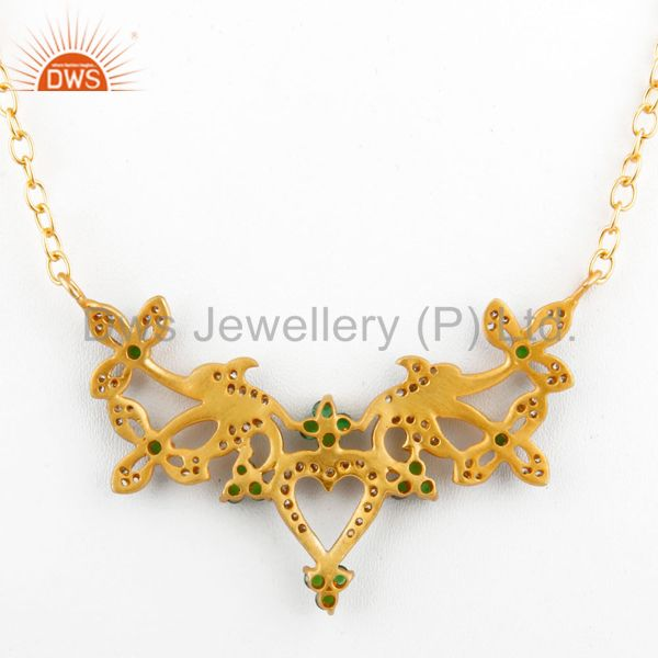 Suppliers 18K Yellow Gold Plated Brass Cubic Zirconia Unique Design Fashion Necklace