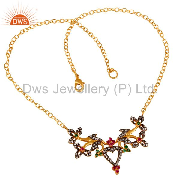 Suppliers 18K Yellow Gold Plated Brass Multi Cubic Zirconia Unique Design Fashion Necklace