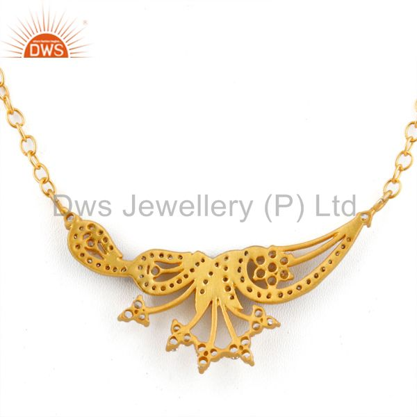 Suppliers Designer 18k Gold Plated Stunning White Cubic Zirconia Handmade Necklace Jewelry