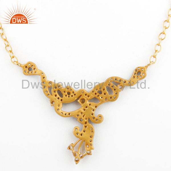 Suppliers Designer Cubic Zirconia Ladies Fashion Necklace With Yellow Gold Plated
