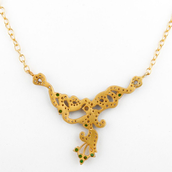 Suppliers 18K Yellow Gold Plated Brass Cubic Zirconia Fashion Designer Necklace
