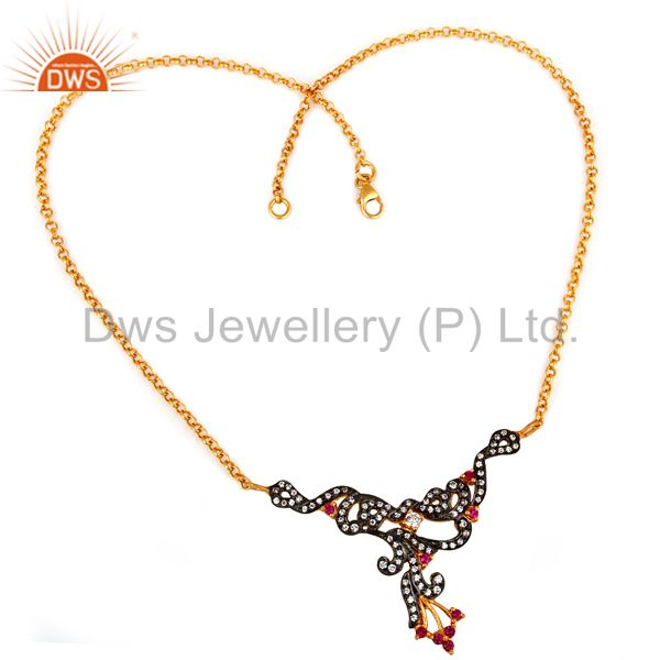 Suppliers 18K Gold Plated Sterling Silver Multi Cubic Zirconia Womens Fashion Necklace