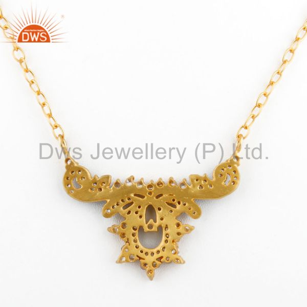 Suppliers 18K Yellow Gold Plated Designer Cubic Zirconia Womens Fashion Necklace