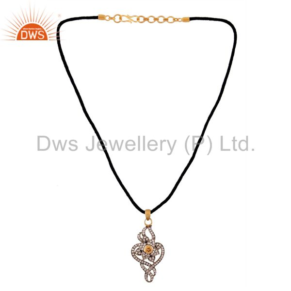 Suppliers Natural Citrine Pendant With 925 Sterling Silver Cubic Zircon Gold Plated Fashio