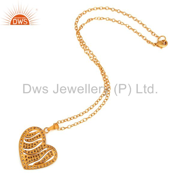Suppliers 18K Gold Plated Plated Cubic Zirconia Heart Pendant With 16