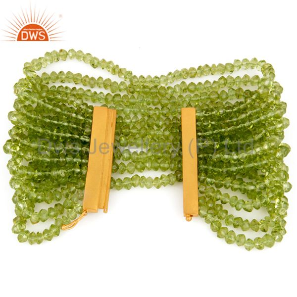 Suppliers Natural Peridot Gemstone Multi-Strand Bracelet With Gold Plated 925 Silver Clasp