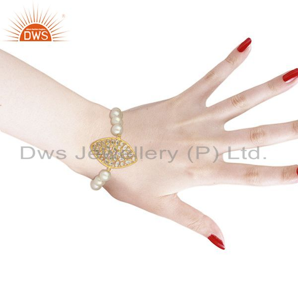 Suppliers 18K Yellow Gold Plated Sterling Silver CZ And White Pearl Beads Stretch Bracelet