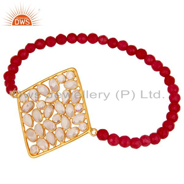 Suppliers Gold Plated Sterling Silver Cubic Zirconia Charms Glass Beads Stretch Bracelet