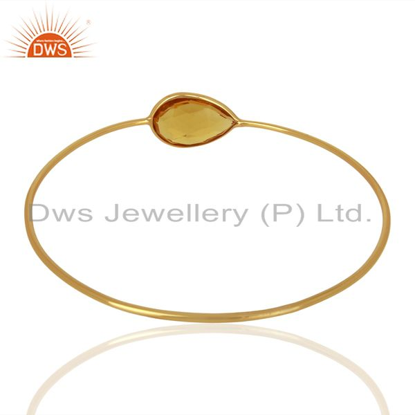Wholesalers of Hydro citrine gemstone gold on 925 silver bangle supplier jewelry