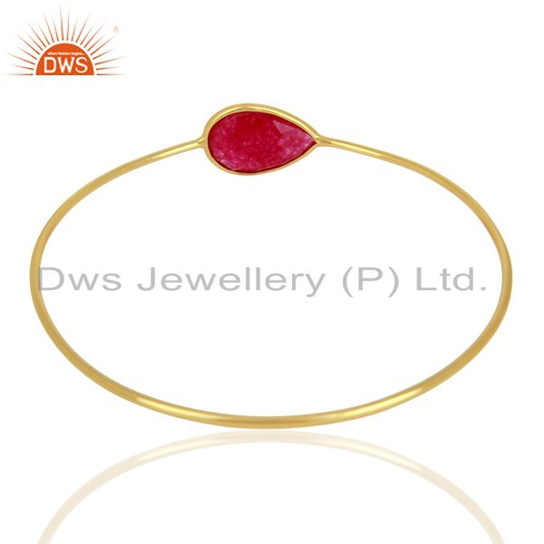 Wholesalers of Red aventurine gemstone gold on 925 silver bangle jewelry supplier
