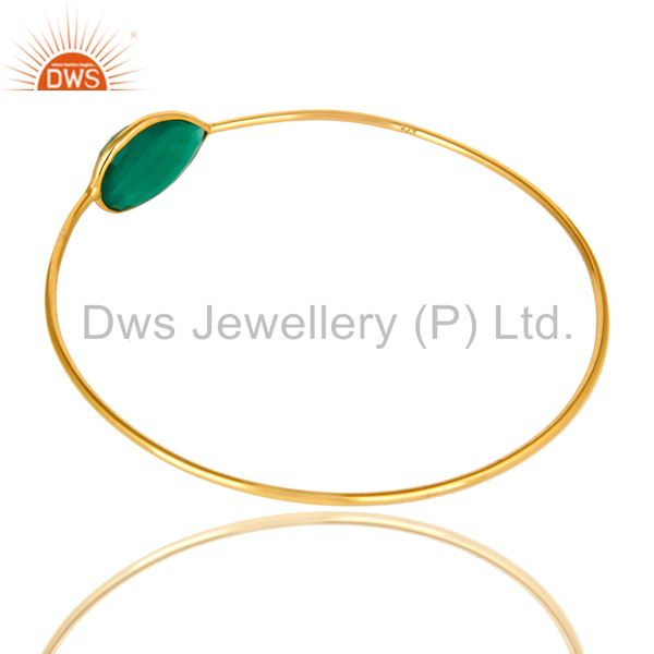 Wholesalers of 18k yellow gold sterling silver green onyx gemstone stackable bangle