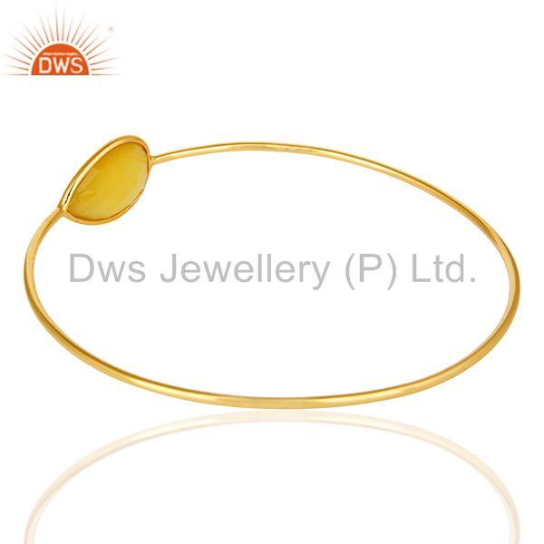 Wholesalers of 14k yellow gold sterling silver yellow chalcedony stackable bangle