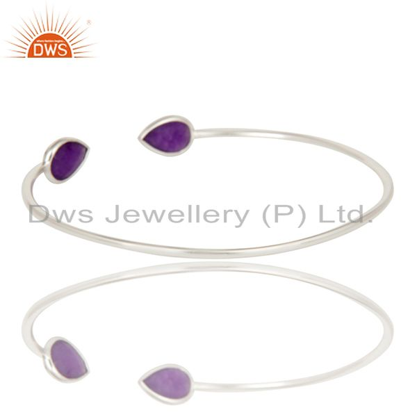 Suppliers Solid 925 Sterling Silver High Polish Natural Purple Aventurine Cuff Bangle