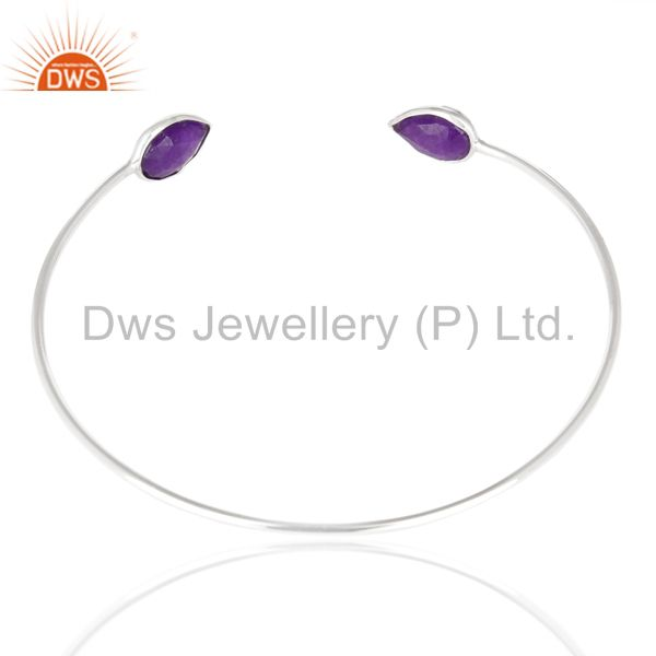 Suppliers Amethyst Chlacedony Adjustable Openable White Rhodium 925 Sterling Silver Bangle