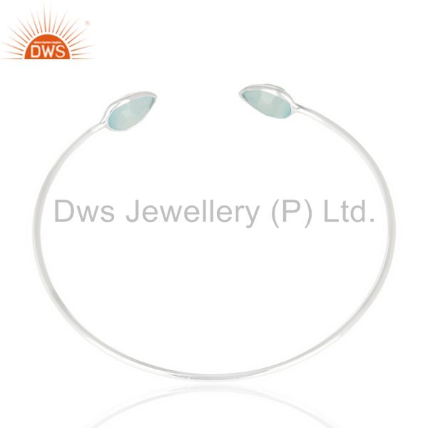 Suppliers Aqua Chlacedony Adjustable Openable White Rhodium 92.5 Sterling Silver Bangle