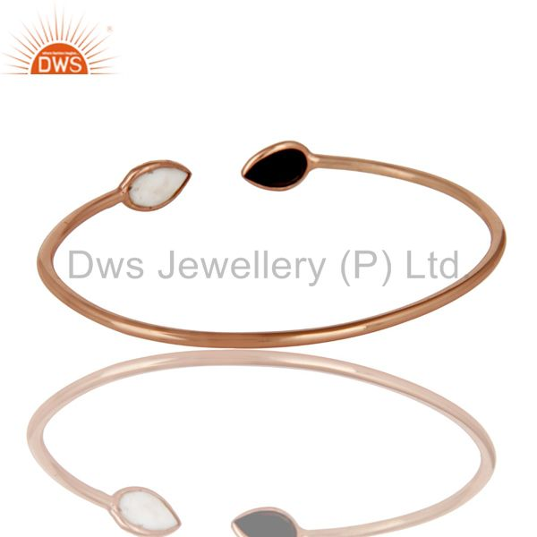 Suppliers 18K Rose Gold Plated Sterling Silver White Agate & Black Onyx Stack Open Bangle