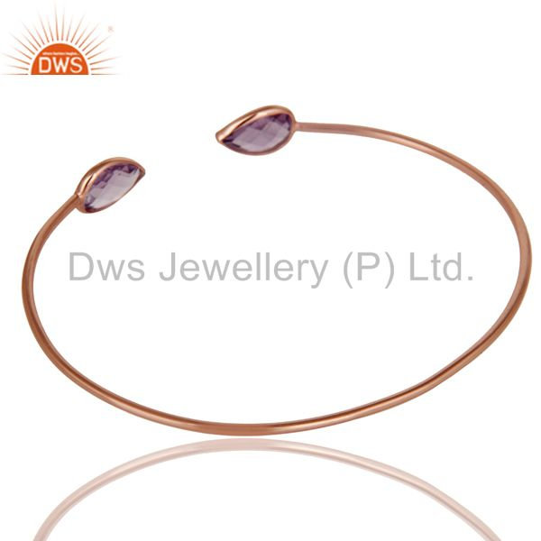 Suppliers 18K Rose Gold Plated Sterling Silver Amethyst Gemstone Open Stackable Bangle