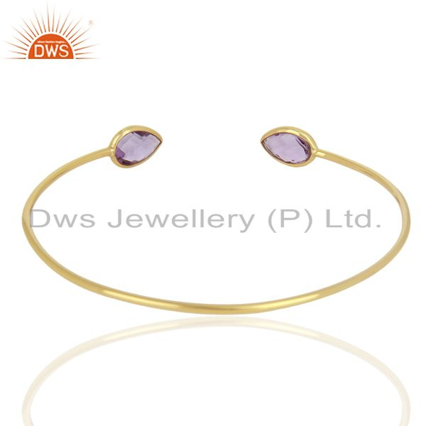 Suppliers Amethyst Sleek 14K Yellow Gold Plated 925 Sterling Silver Cuff Bangle Jewelry