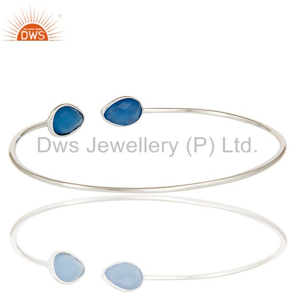 Suppliers Handmade Solid 925 Sterling Silver Blue Chalcedony Open Stackable Bangle