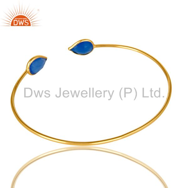 Suppliers 18K Rose Gold Plated Sterling Silver Blue Chalcedony Open Stackable Bangle