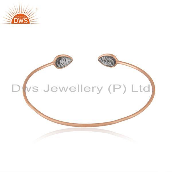 Suppliers Black Rutile Rose Gold Plated 925 Silver Cuff Bracelet Manufacturer India