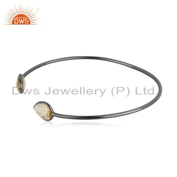 Suppliers Citrine Gemstone 925 Silver Black Rhodium Plated Sleek Cuff Bangle Manufacturer