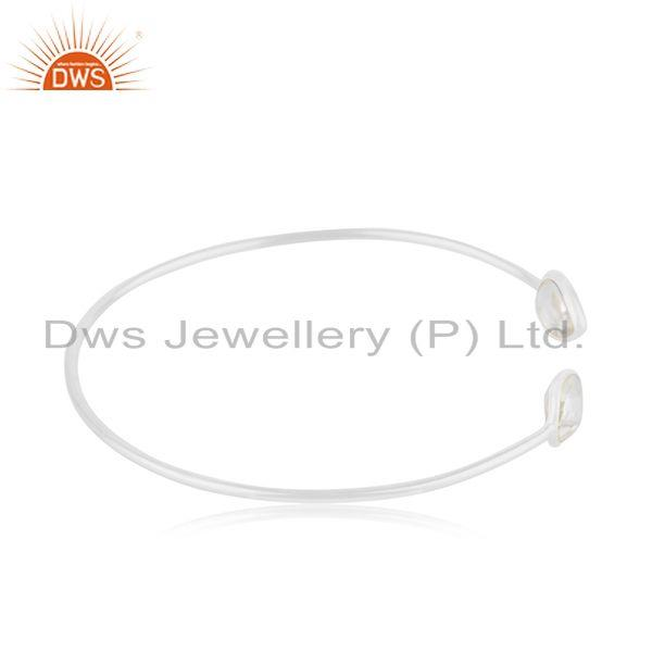 Suppliers Handmade 92.5 Sterling Fine Silver Crystal Simple Cuff Bracelet Manufacturer