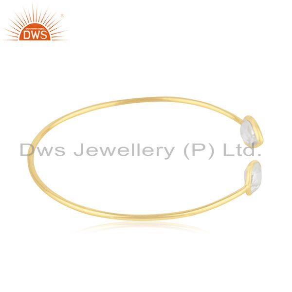 Suppliers 14k Gold Plated Sterling Silver Crystal Quartz Simple Cuff Bangle Manufacturer
