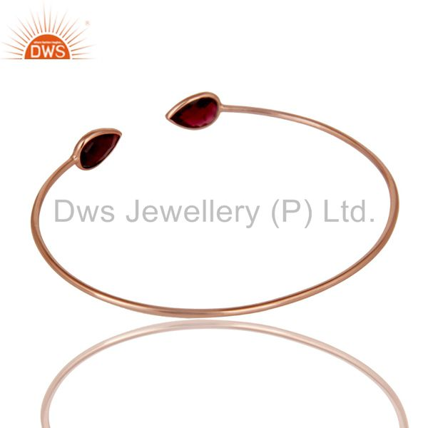 Suppliers 18K Rose Gold Plated Sterling Silver Garnet Gemstone Open Stackable Bangle