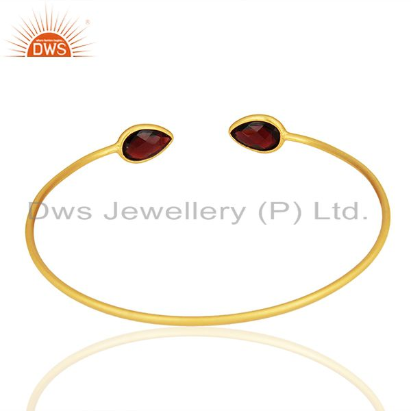 Suppliers Garnet Gemstone 925 Silver Gold Plated Cuff Bracelet Manufacturers