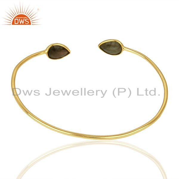 Suppliers Gold Plated Silver Designer Labradorite Gemstone Cuff Bangle Jewelry